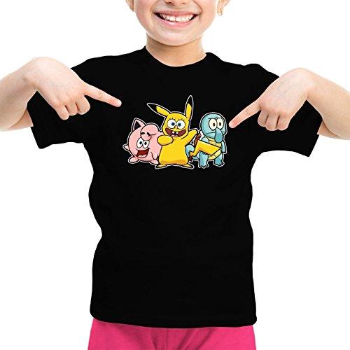 Mdchen-Kinder-T-Shirt-Parodie-auf-Bob-Patrick-und-Carlo-von-SpongeBob-Schwammkopf-und-Pikachu-von-Pokemon-775
