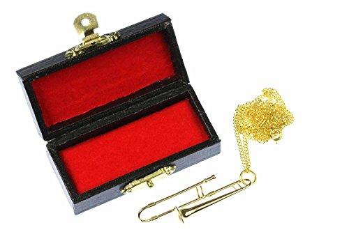 Posaunen-Kette-Posaunenkette-Halskette-Miniblings-Posaune-vergoldet-60cm-Box
