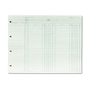 "Wilson Jones GN2B Green Double Entry Ledger Form Paper, Both Sides Alike, Punched for Post Binders, 9-1/4"" X 11-7/8"", 100 Sheets/Pack"