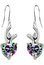 Star K Hanging Hook Earrings in Silver