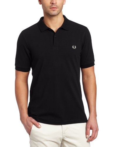FRED PERRY FP Plain Shirt, Maglietta Uomo, Black/Chrome, S