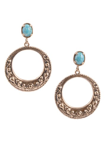 Bronzed By Barse Turquoise Howlite Post Hoop Earring
