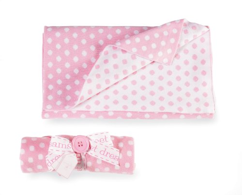 Mud Pie Baby 100-Percent Cotton Knit Polka Dot Blanket, Pink/White