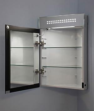 miroir armoire d angle led led evita avec anti bu e prise rasoir capteur. Black Bedroom Furniture Sets. Home Design Ideas