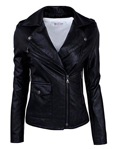 Tom's Ware Women's Fashionable Asymmetrical Zip-up Faux Leather Jacket TWPJW01-02-BLACK-US L
