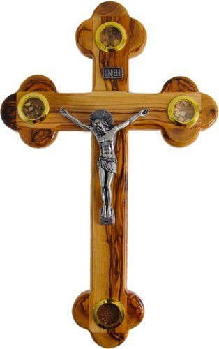 Small Olive Wood Cross Crucifix with Holy Essences