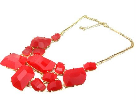 Red Chunky Chain Resin Geometry Drop Golden Choker Bib Necklace