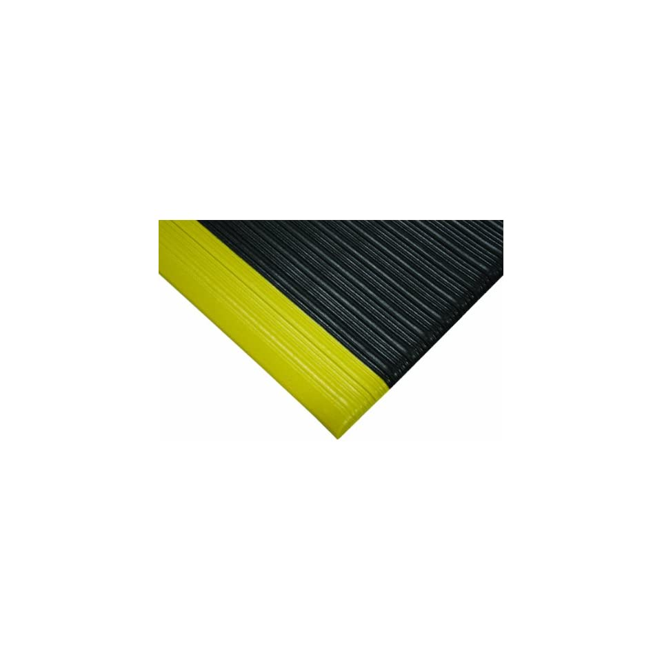 Wearwell PVC 451 Tuf Sponge Light Duty Anti Fatigue Mat, for Dry Areas, 27 Width x 60 Length x 3/8 Thickness, Black / Yellow