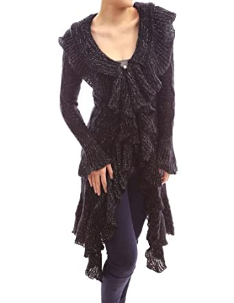 PattyBoutik Elegant Ruffle Flounce Collar Asym Long Jumper Cardigan (Black XL)