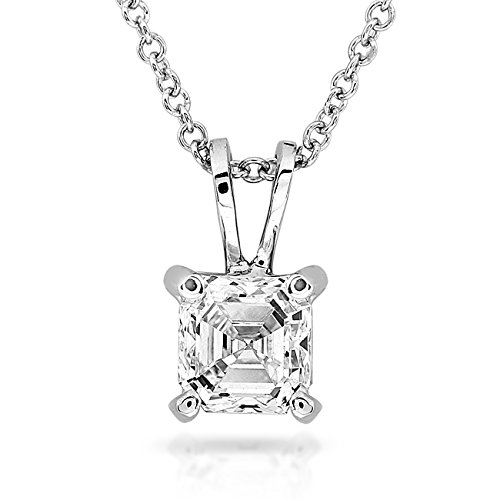 pendentif diamant solitaire 1 4 carat asscher en or blanc 14 k bijouterie dulcinea. Black Bedroom Furniture Sets. Home Design Ideas