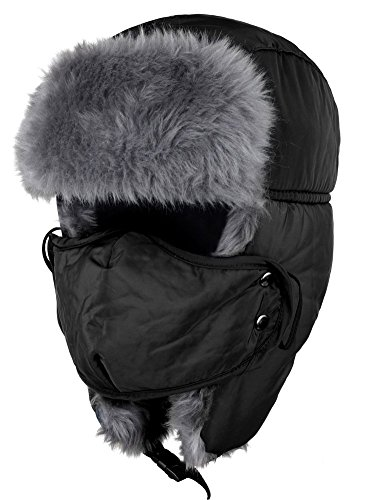 Buankoxy Mens Nylon Russian Style Ski Cap Women Winter Skiing Ear Flap Hat Black