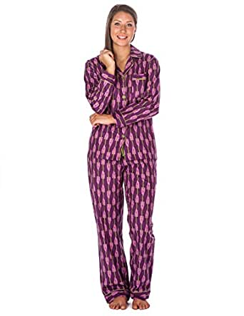 Womens Cotton Flannel Pajama Sleepwear Set - Grape Vines Purple - S
