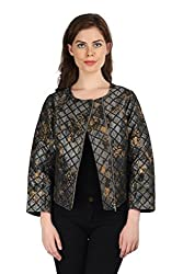 Aaliya Woman Jacquard Full Sleeves Casual Jacket - Multicolor, XXL