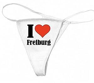 """sexy Damen String Tanga """"I Love Freiburg"""" Cotton Spandex Thong Bikini in Weiß von Bella & Canvas 95% Baumwolle Größen: S - M - L - XL"""