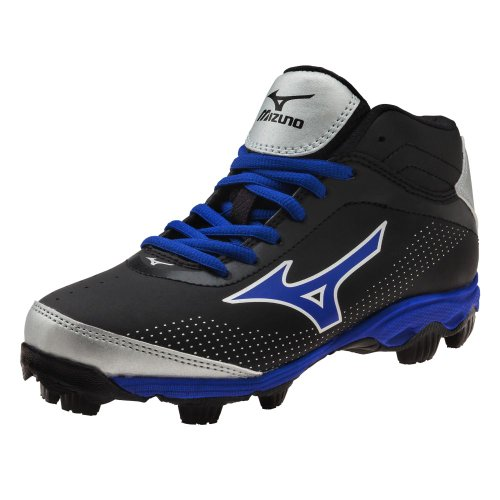 Mizuno Youth 9-Spike Franchise 7 Mid Molded Baseball Cleat (Black/Royal, 4.5)