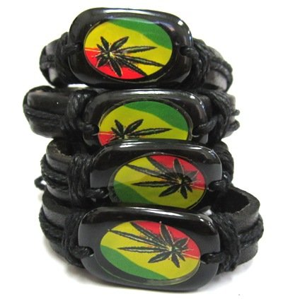 Unisex Surfer Ethnic Tribal Leather Wristband – Marijuana Leaves, 2 Piece, Random Colors