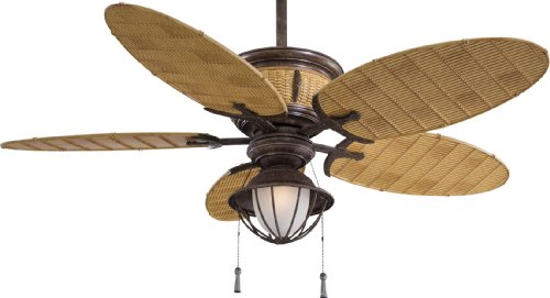 Minka-Aire F580-VR/BB Minka Aire One Light Vintage Rust/Bamboo Outdoor Fan, Bronze
