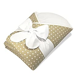 Bundlebee Baby Wrap/Swaddle/Baby Blanket -Removable Neck and Back Support Cushion- High Quality Cotton - Feather Light - Hypoallergenic - beautiful packaging - Newborns 0-4 months - Tan Polka Dot