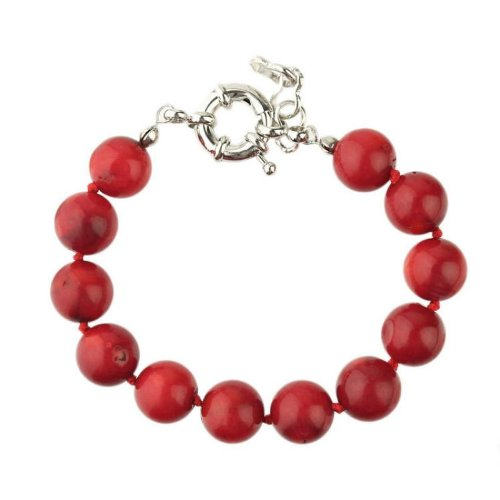 Bracelet made of red Coral beads 10mm diameter and entirely knotted