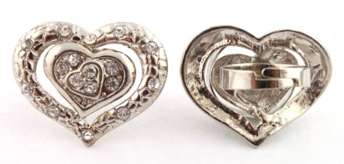 Ladies Stylish Silver Triple Outlined Heart Metal Adjustable Finger Ring