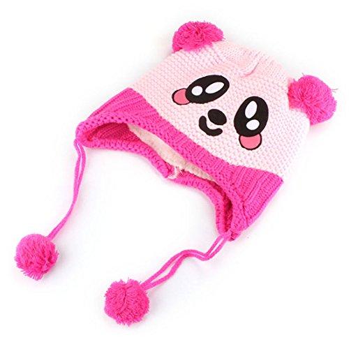 Nicerocker Cute Baby Kids Girls Boys Thicker Warm Winter Panda Cap Hat Beanie (Hot Pink) front-568767