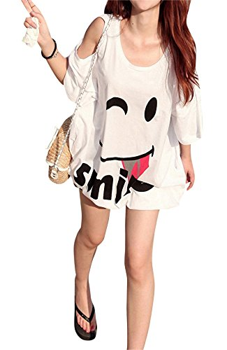 Womens Open Shoulder Short Sleeve Loose Batwing Tee Tops Blouse