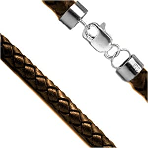 """3mm Dark Brown 16"""" Braided Leather Cord Chain Sterling Silver Necklace"""