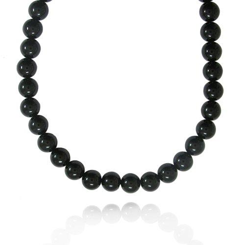 10mm Round Black Onyx Bead Necklace, 16+2