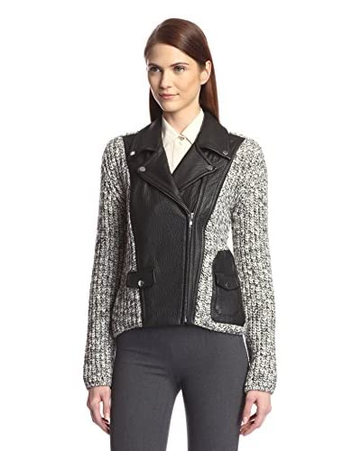 Yigal Azrouel Women's Knit Moto Jacket with Leather Contrast  [Platinum]