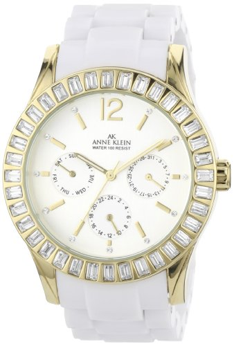 AK Anne Klein Women's 109316SVWT Swarovski Crystal Multi-Function Gold-Tone White Watch