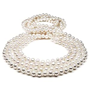 HinsonGayle AAA Handpicked 6.0-6.5mm Ultra-Luster White Cultured Pearl Rope Necklace (82 Inches) {{{GET A FREE NECKLACE WITH COUPON, SEE DETAILS BELOW}}}