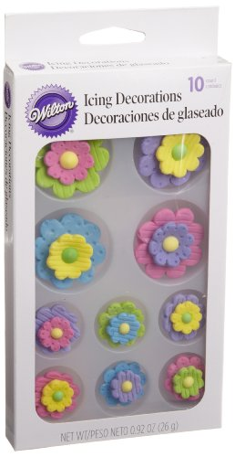 Wilton Multi-Color Flower Royal Icing Decorations, 10 Count