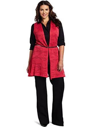 Jones New York Women's Plus-Size Belted Vest, Primrose, 3X