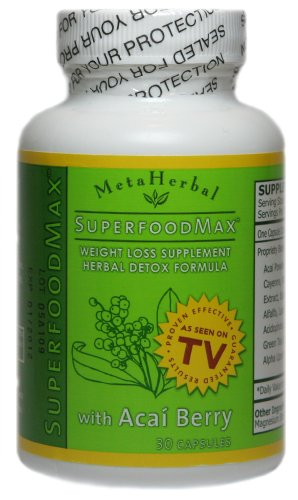 Superfood Max with Acai Berry & 13 Other Diet Foods: Weight Loss Diet Pill & Herbal Detoxify Formula - Anti-Aging Supplement