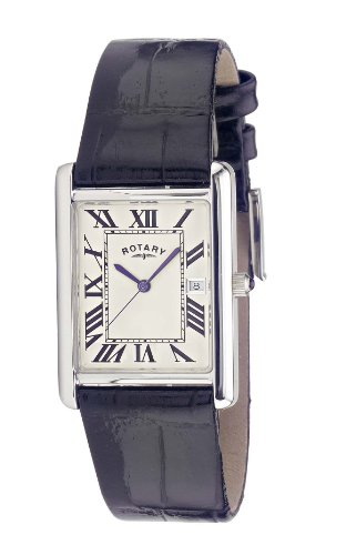 Rotary Gents Sterling Silver Square White Dial Leather Strap Watch GS21222/01