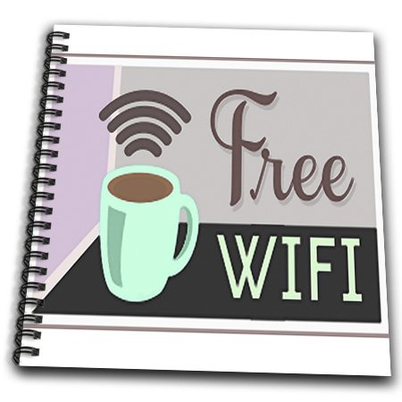 Florene - Decorative Ii - Print Of Cartoon Coffee Cup With Words Free Wifi - Drawing Book - Drawing Book 8 X 8 Inch - Db_193054_1