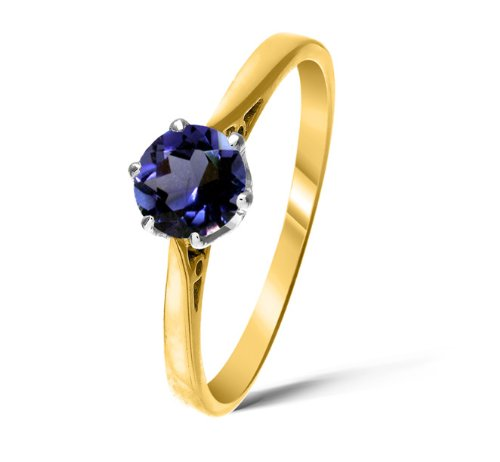 Sophisticated 9 ct Gold Ladies Solitaire Engagement Ring with Iolite 0.65 Carat