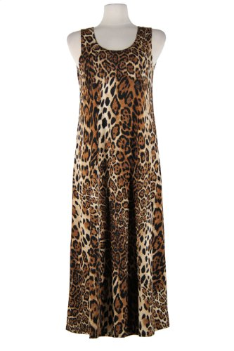 Jostar Stretchy Long Tank Dress With Print In Animal Design Brown Color In X-Large Size