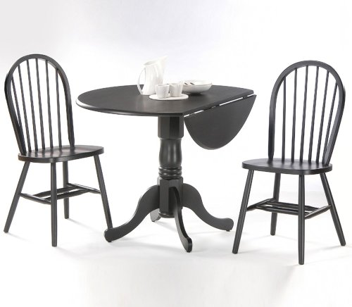 Buy Low Price International Concepts 3-Piece Set – 42″ Dual Drop Leaf Table with 2 Windsor Chairs in Black – K46-42DP-C212-2 (K46-42DP-C212-2)