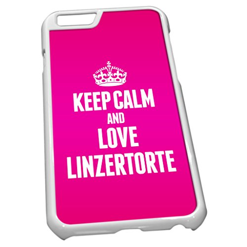 Blanc Coque pour iPhone 6 1227 Rose Keep Calm and Love linzertorte