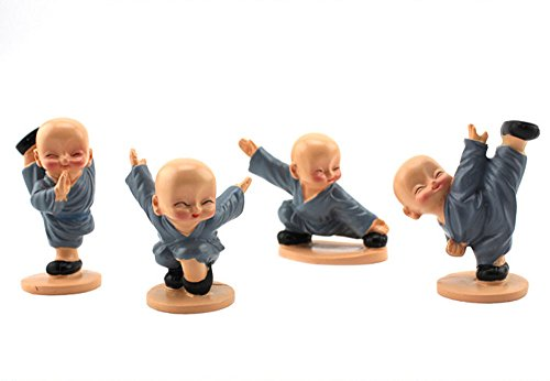 Longpro Creative Priestling Decoration Four Small Monk Lovely Doll Car Accessories Sitting Room Desktop Resin Furnishing Articles (Kung fu)