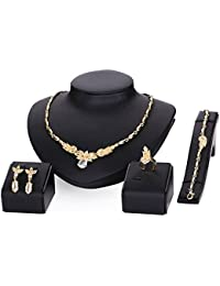 Silver Shoppee Golden Loop Crystal And Cubic Zirconia Studded 18K Yellow Gold Plated Alloy Jewellery Set