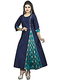 Aahwan Women's Navy Blue A-line Kurti With Side Slit