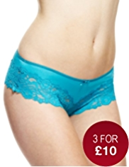 Wide Lace Trim Brazilian Knickers
