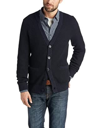 ESPRIT Collection Herren Strickjacke 014EO2I007, Gr. 50 (L), Blau (411 DARK NIGHT BLUE)