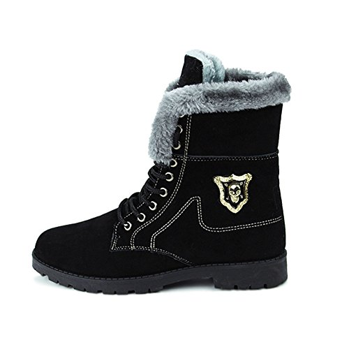 GIY Men Fashion Skull High-top Fur Lining Martin Boots Platform Thick Bottom Lace-up Bootie Shoes
