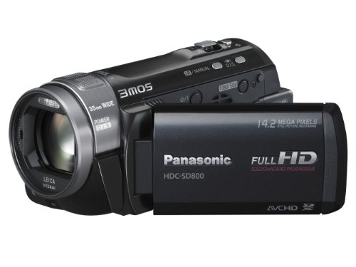Panasonic SD800 Full HD 1920x1080p (50p) 3D Ready Camcorder - Black (3MOS sensor, SD Card Recording, x20 Intelligent Zoom, 35mm Wide Angle Leica Lens, iA + Face Recognition & New Hybrid OIS)