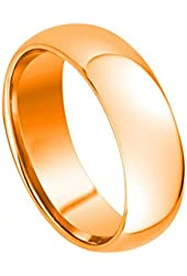 7mm - Man or Ladies - Tungsten Carbide Classic Domed Rose Gold Plated Wedding Band Ring Size 10.5