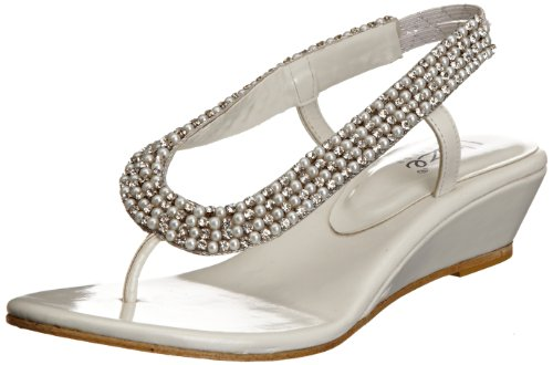 Unze Evening Sandals Womens Flip-flops L18409W White 6 UK
