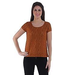 Meish Dark Brown Solid Top for Women